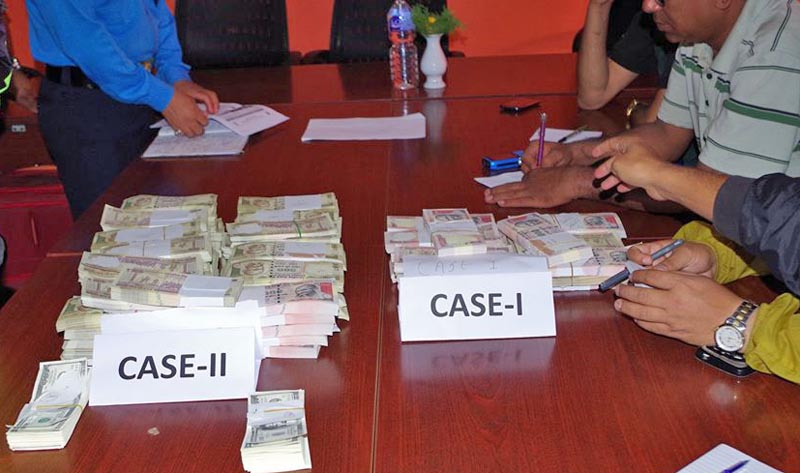 Fake foreign currencies put on display at the Ranipokhari-based Metropolitan Police Office. Photo: Nepal Police