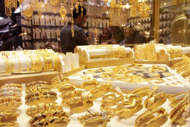 Gold jewellery is seen displayed for sale at a shop in a gold market in Basra, southeast of Baghdad February 14, 2015. REUTERS/ Essam Al-Sudani