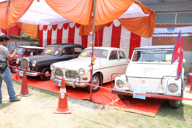 Cars, which were in use over 40 years ago, on display at a three-day exhibition organised at the Nepal Art Council, Babarmahal, on Monday, May 16, 2016. Photo: RSS