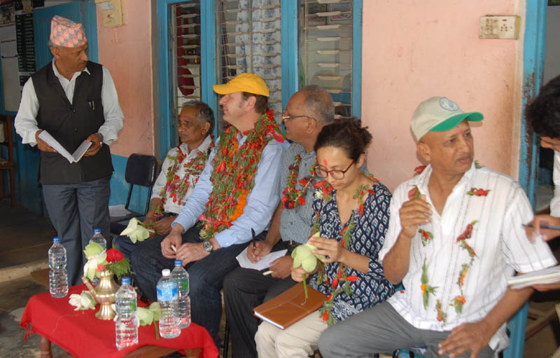 A representative of the Lake Renovation and Pisciculture Cooperative Limited briefing the visiting World Bank team about its Rural Fish Hatchery and Fish Productivity Promotion Sub-Project in Rupakot of Kaski district, on Sunday, May 22, 2016. Photo: PACT