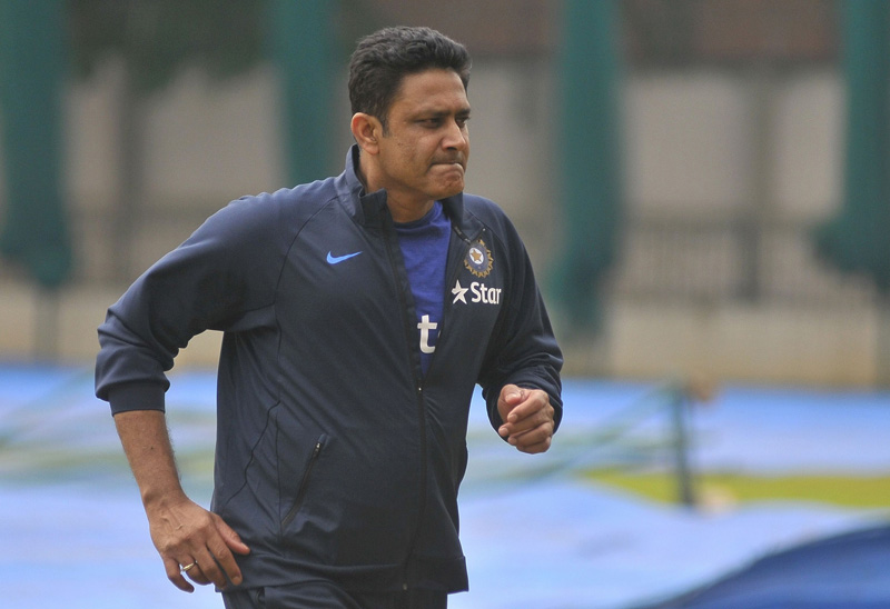 India's newly appointed cricket coach Anil Kumble attends a practice session at Bengaluru, India on Thursday, June 30, 2016. Photo: Reuters