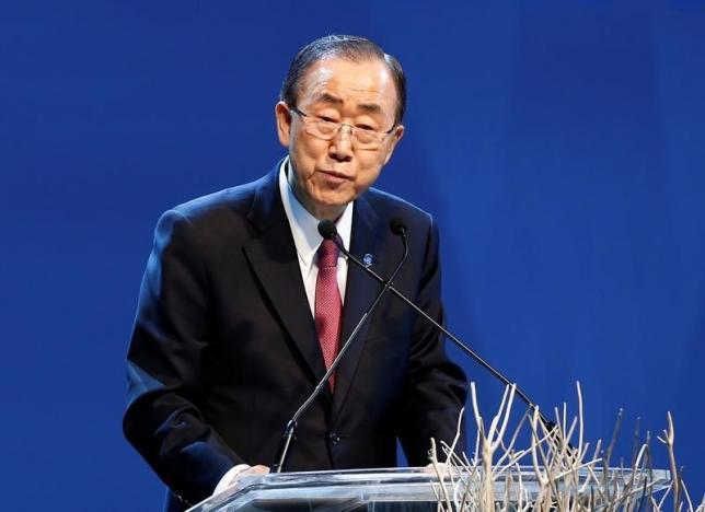 U.N. Secretary-General Ban Ki-moon speaks during the opening ceremony of the World Humanitarian Summit in Istanbul, Turkey, May 23, 2016. REUTERS/Osman Orsal