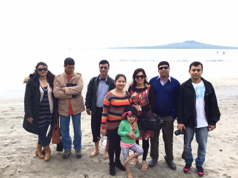 CAANu2019s director general Sanjiv Gautam (second from left) and Joint Secretary Suresh Acharya at Ministry of Culture, Tourism and Civil Aviation (second from right) enjoyed an official trip with their spouses at the Queenstown beach in New Zealand on May, 2016. Photo: Suresh Acharya/Facebook
