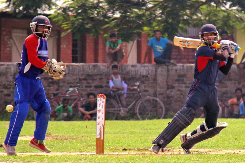 Dipendra Singh Airee of the Nepal Police Club (NPC) bats against Janakpur in their final match of the second Madan Aashrit National T20 Cricket Title, in Rajbiraj, on Thursday, June 23, 2016. NPC won the title by 49 runs. Photo: Byas Shankhar Upadhyaya