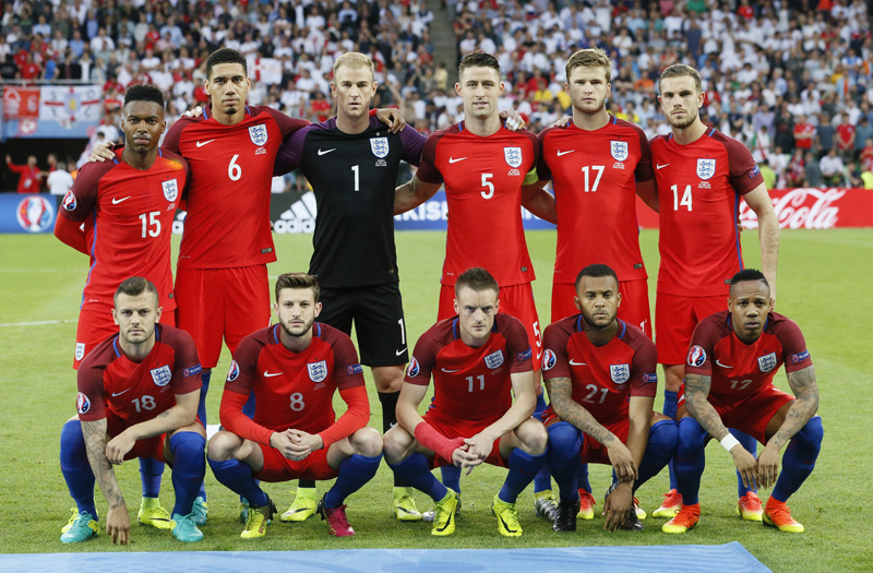 England team pose for a photograph prior to their Euro 2016 Group B Soccer match between England and Slovakia at Stade Geoffroy-Guichard, Saint-u00c9tienne in France on Monday, June 20, 2016. Photo: Reuters