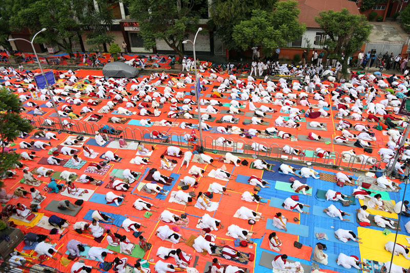 Thousands of Nepalis participate in the programme at Durbar Marg, Kathmandu.