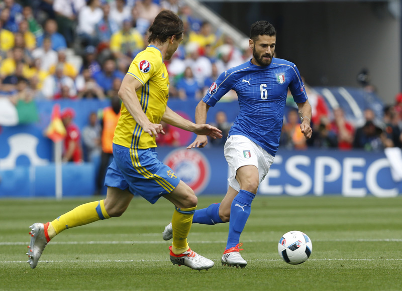 Italy's Antonio Candreva in actionn during Euro 2016 against Sweden at Stadium de Toulouse, in France on June 17, 2016. Photo: Reuters