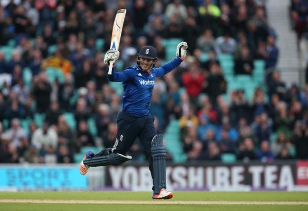 England's Jason Roy celebrates his centurynAction Images via Reuters / Matthew Childs