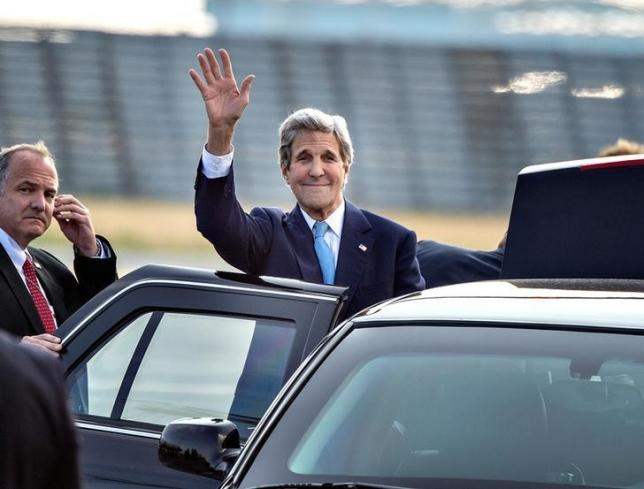 U.S. Secretary of State John Kerry waves as he arrives at Copenhagen Airport, for a two-day visit in Denmark, June 16, 2016.Scanpix Denmark/Henning Bagger/via REUTERS