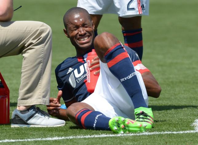 New England Revolution defender Jose Goncalves (23) grimaces in pain on the field during the second half against the Los Angeles Galaxy at StubHub Center. Galaxy won 4-2. Mandatory Credit: Jayne Kamin-Oncea-USA TODAY Sports