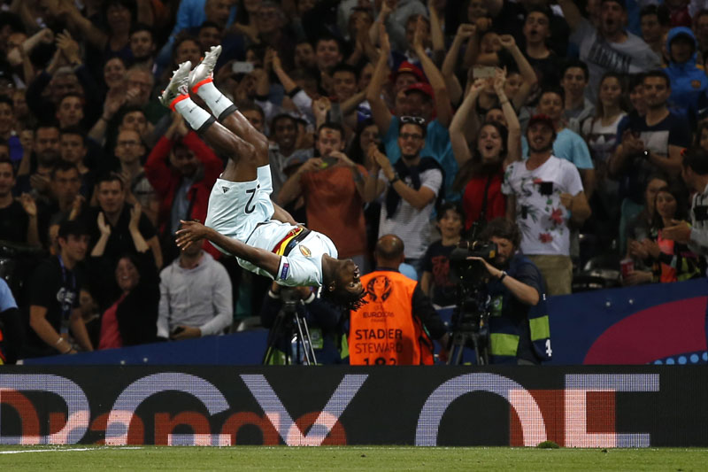 Belgium's Michy Batshuayi celebrates after scoring Belgium's second goal against Hungary during their Euro last 16 match on June 26, 2016. Photo: Reuters/Filen