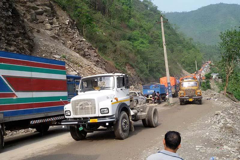 Narayangadh-Muglin road obstructed by landslide