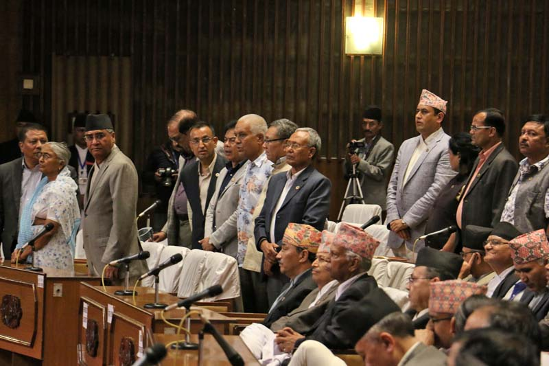 Leaders of the main opposition party, Nepali Congress, briefly obstruct the Parliament session held on Wednesday, June 29, 2016. Photo: RSS