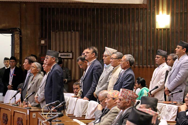 Leaders of the main opposition party, Nepali Congress, obstruct the Parliament session held on Monday, June 27, 2016. Photo: RSS