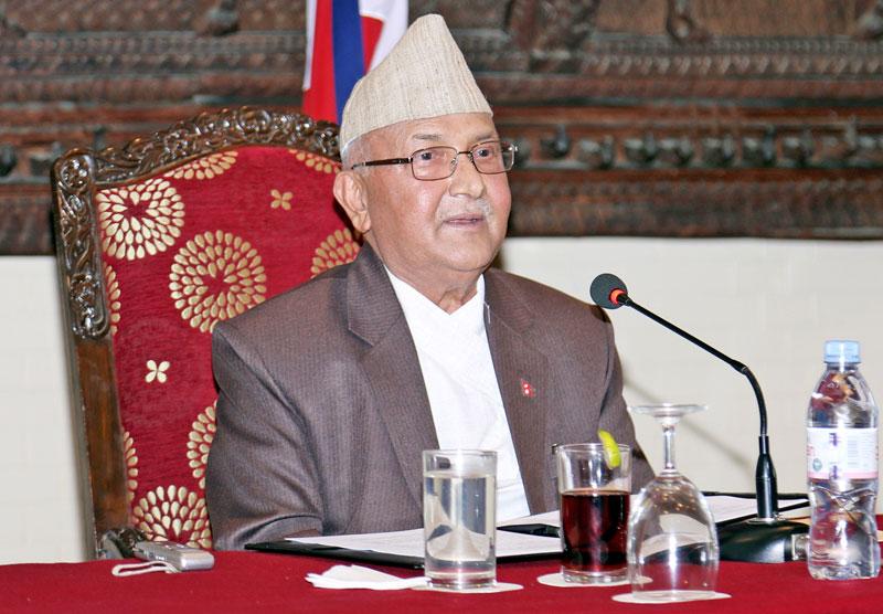Prime Minister KP Sharma Oli addressing diplomats