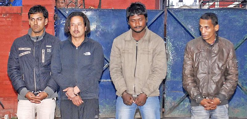 Murder suspects of Justice Bam's murder paraded by Nepal Police in Kathmandu on January 3, 2015. Photo: Bal Krishna Thapa Chhetri/File