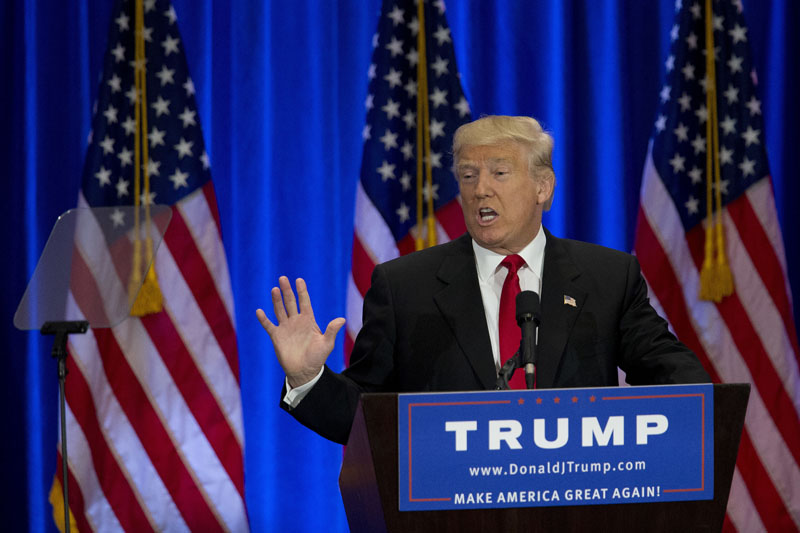 FILE - Republican presidential candidate Donald Trump speaks in New York, on June 22, 2016. Photo: AP