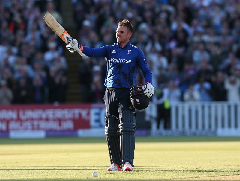 England's Jason Roy celebrates his century during Second One Day International against Sri Lanka at Edgbaston, on June 24, 2016. Photo: Reuters
