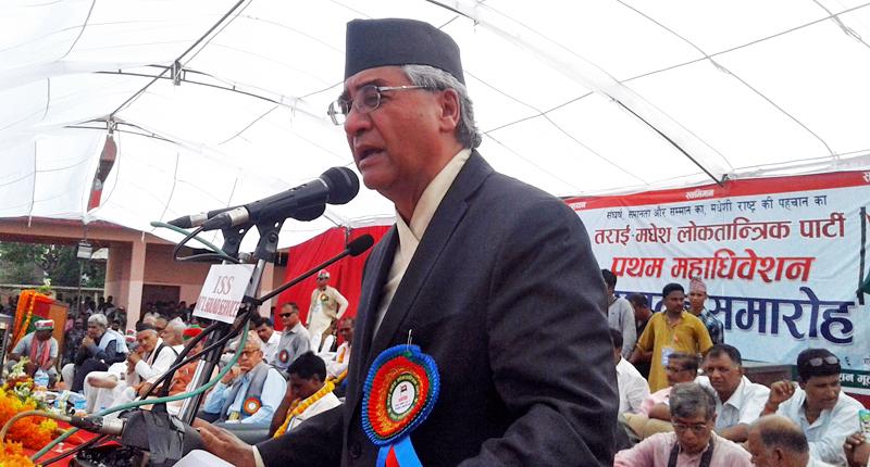 Nepali Congress President Sher Bahadur Deuba speaking at a programme in Nawalparasi on Monday, June 21, 2016. Photo: RSS