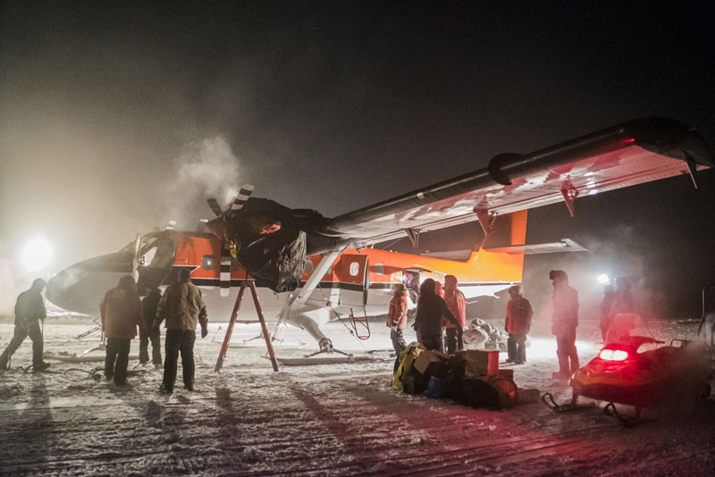 A small plane picks up a sick worker at the US South Pole science station. Photo: Robert Schwarz/NSF via AP
