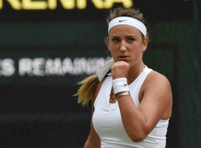 Victoria Azarenka of Belarus reacts during her match against Serena Williams of the USA at the Wimbledon Tennis Championships in London, July 7, 2015. Photo: Reuters