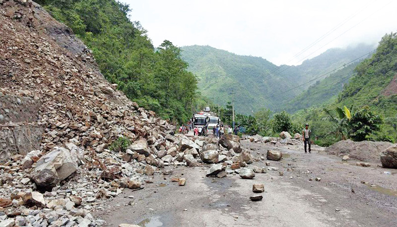 FILE: A view of a landslide that obstructed vehicular movement along Narayangadh-Muglin road section, in Chitwan, on Monday, June 27, 2016. Photo: THT