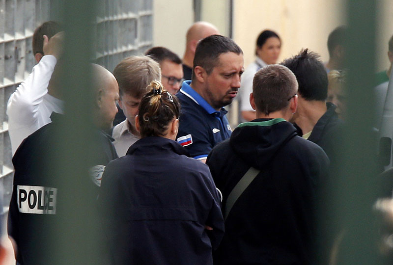 FILE PHOTO -  Russian soccer fan leader Alexander Shprygin, who will again be deported from France after he returned despite a previous expulsion in connection with violence that marred the start of Euro 2016, is seen during his first expulsion in Marseille, France, June 18, 2016. Photo: Reuters/File