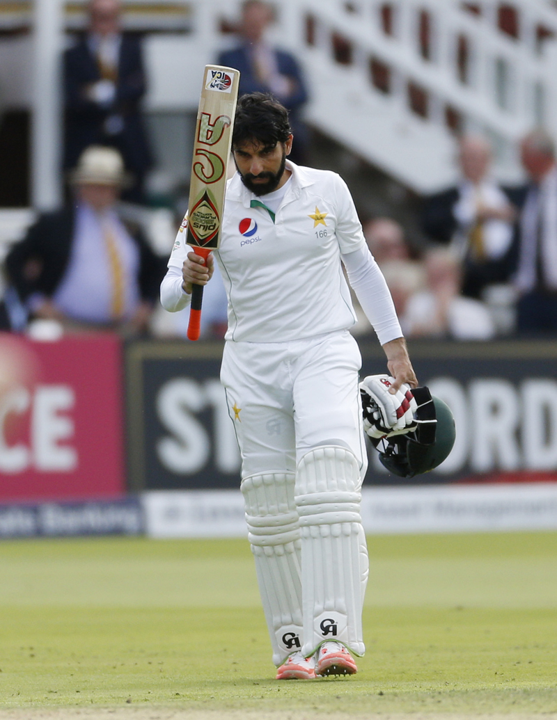 Pakistan's Misbah ul Haq celebrates scoring a centuryn during First Test match against England at Lord's on Thursday, July 14, 2016. Photo: Reuters
