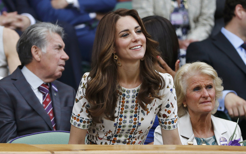 Britain's Kate, Duchess of Cambridge in the royal box on centre court during Men's Final at All England Lawn Tennis & Croquet Club, Wimbledon, in England, on Sunday, July 10, 2016. Photo: Reuters