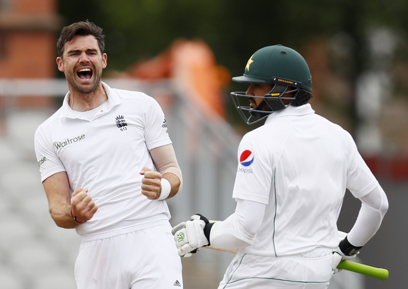 England's James Anderson celebrates taking the wicket of Pakistan's Azhar Alin during Second Test cricket match at Old Traffor, on Monday, July 25, 2016. Photo: Reuters