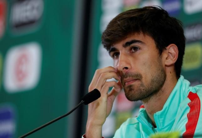 Portugal's Andre Gomes during the news conference.  REUTERS/John Sibley