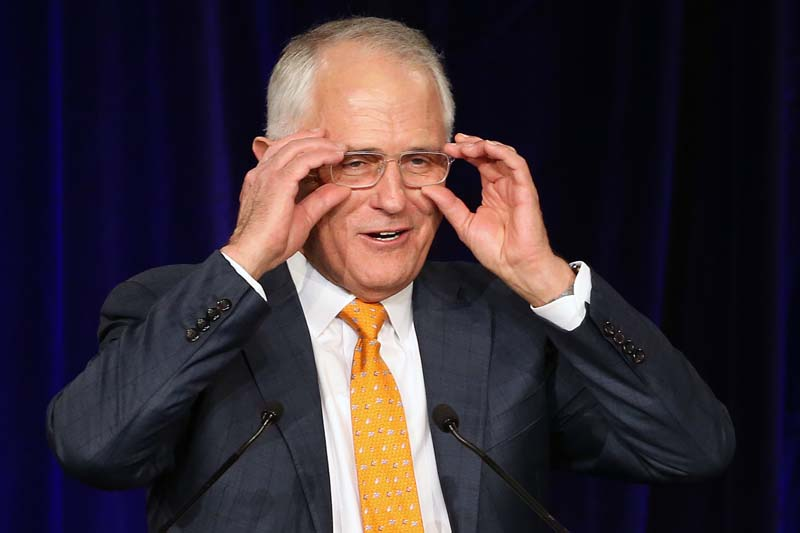 Australian Prime Minister Malcolm Turnbull addresses party supporters during a rally in Sydney, Sunday, July 3, 2016, following a general election. The elections, which pit the conservative coalition government against the center-left Labor Party, cap an extraordinarily volatile period in the nation's politics. Photo: AP