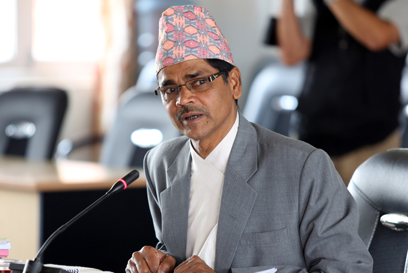 FILE- Ayodhi Prasad Yadav, nominated for the position of Chief Election Officer, faces the parliamentary hearing, in Kathmandu, on Friday, July 8, 2016. Photo: RSS