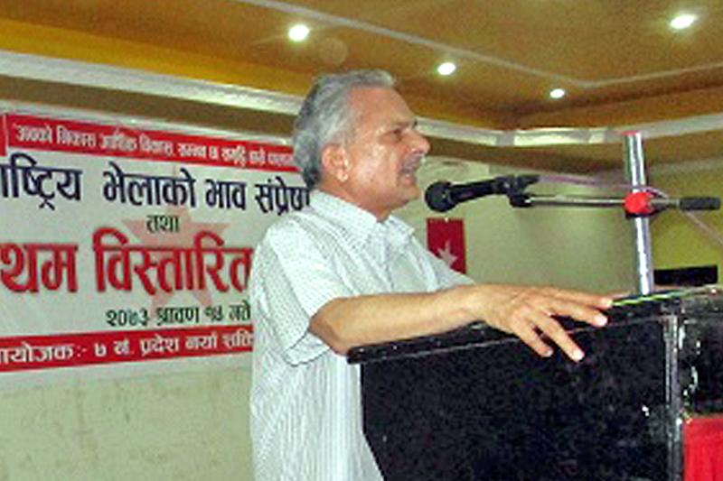 Naya Shakti Nepal coordinator Baburam Bhattrai addresses a programme  in Dhangadhi, on Friday, July 29, 2016. Photo: RSS