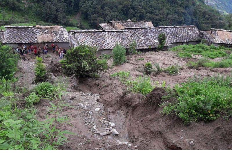 A landslide poses threat to a human settlement in Rajali, Badimalika Municipality-9 of Bajura district, in July 2016. Photo: Prakash Singh