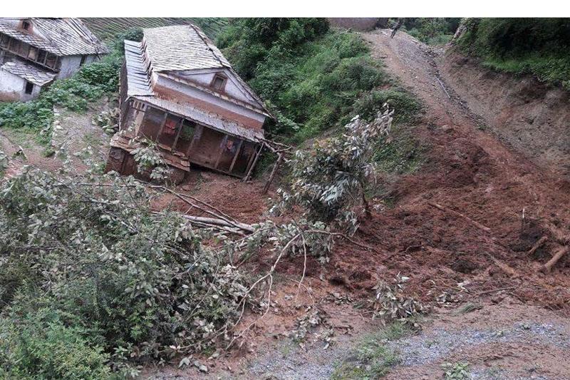 A landslide poses threat to houses in Rajali, Badimalika Municipality-9 of Bajura district, in July 2016. Photo: Prakash Singh