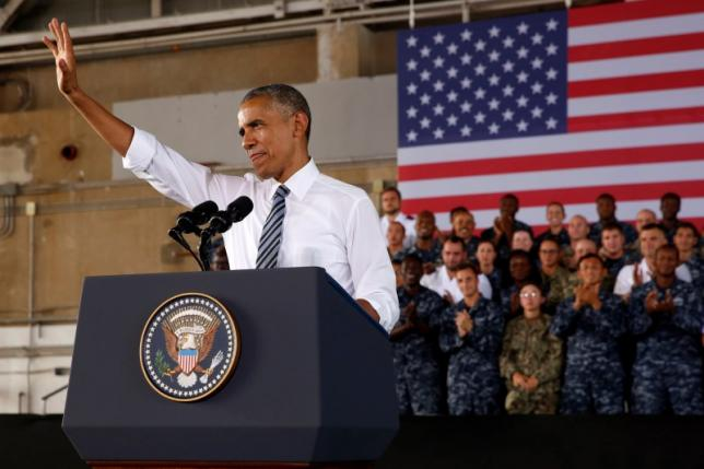 U.S. President Barack Obama delivers remarks to military personnel at Naval Station Rota in Rota, Spain July 10, 2016. REUTERS/Jonathan Ernst