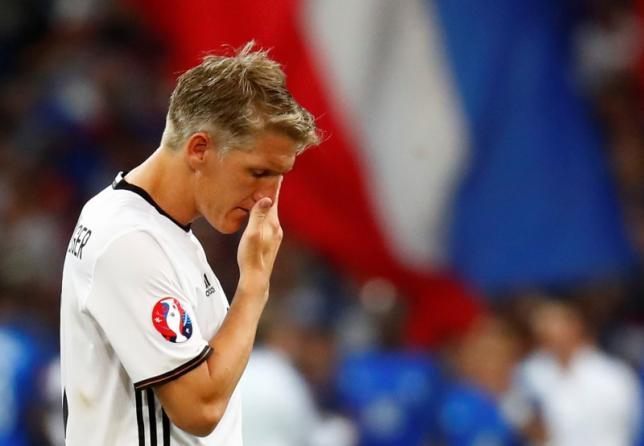 Football Soccer - Germany v France - EURO 2016 - Semi Final - Stade Velodrome, Marseille, France - 7/7/16nGermany's Bastian Schweinsteiger reacts after the gamenREUTERS/Kai PfaffenbachnLivepic