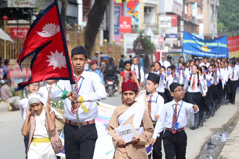 Children participating in a morning rally organised by  Bhanu Pratishthan on the occasion of 203rd Bhanu Jyanti, in Kathmandu on July 13,2016. Photo: RSS