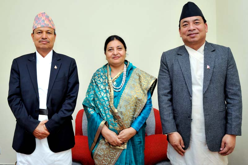 (From left) DPM and Minister for Defence Bhim Bahadur Rawal, President Bidya Devi Bhandari and Vice-President Nanda Bahadur Pun at the President's Office, in Sheetal Niwas, Kathmandu, on Thursday, July 28, 2016. Photo Courtesy: President's Office