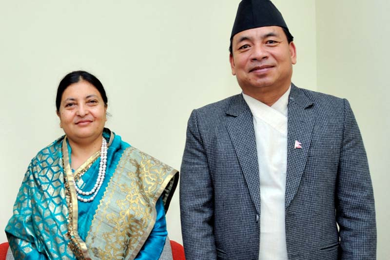 President Bidya Devi Bhandari and Vice-President Nanda Bahadur Pun at President's Office, in Sheetal Niwas, on Thursday, July 28, 2016. Photo Courtesy: President's Office