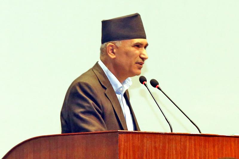 Finance Minister Bishnu Prasad Paudel speaking at a Legislature-Parliament in Kathmandu, on Friday, July 22, 2016. Photo: RSS