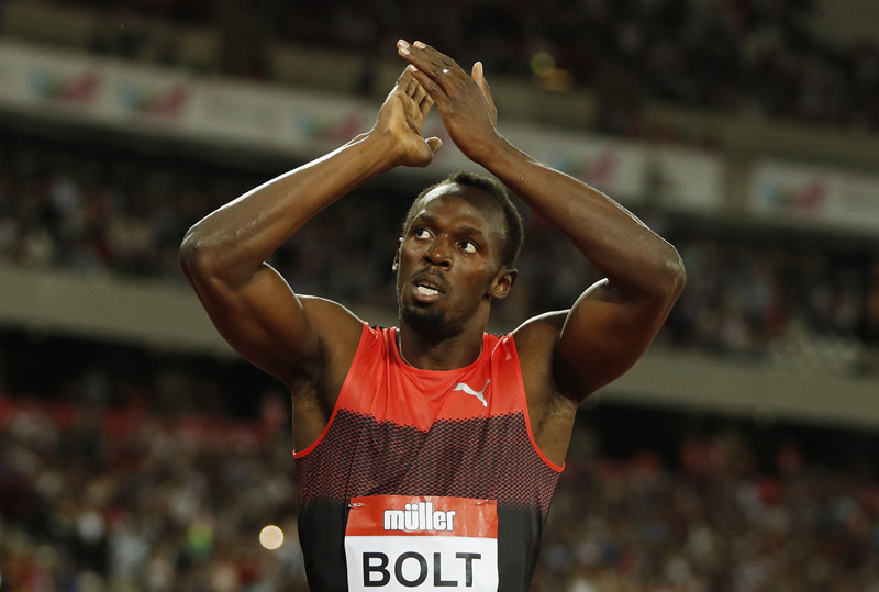 Jamaica's Usain Bolt acknowledges the crowd after winning the Men's 200m in n2016 London Anniversary Games on July 22, 2016. Photo: Reuters