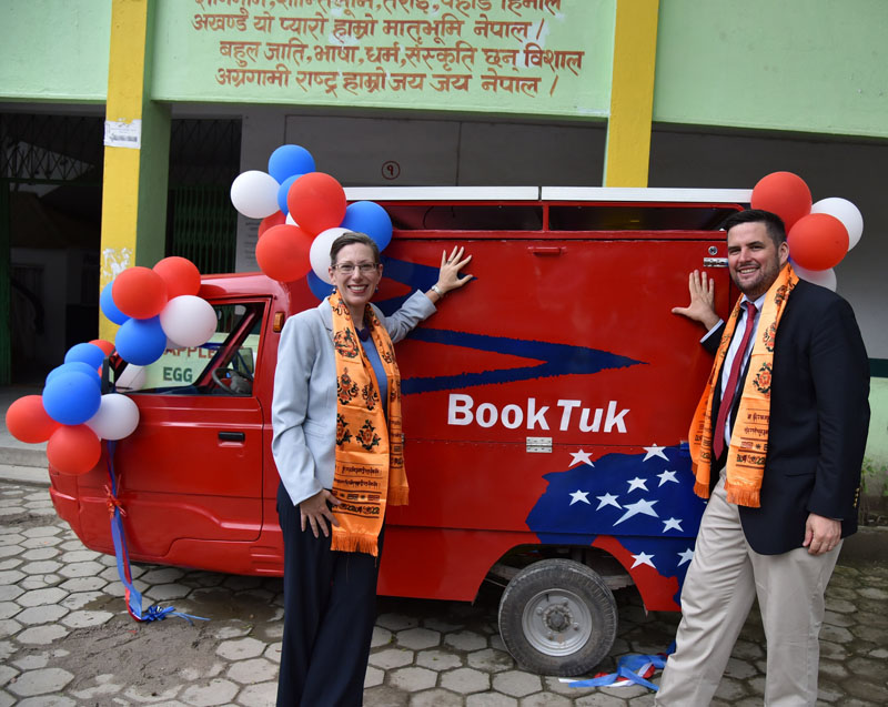 US Ambassador Alaina B. Teplitz and Coordinator for the Bureau of International Information Programmmes (IIP) at the Department of State Macon Phillips launch new u0093BookTuku0094 mobile library, in Kathmandu,  on Friday, July 29, 2016. Photo: US embassy