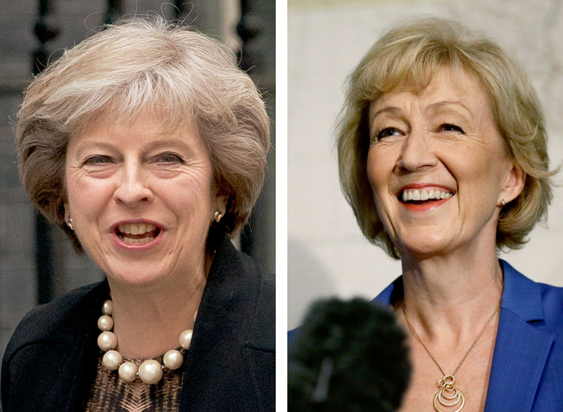 FILE - The  photo combo of two contenders to become the leader of the Conservative Party and assume the post of Britain's Prime Minister, with Theresa May (left) dated July 5, 2016, and Andrea Leadsom (right), dated July 4, 2016.  Photo: AP