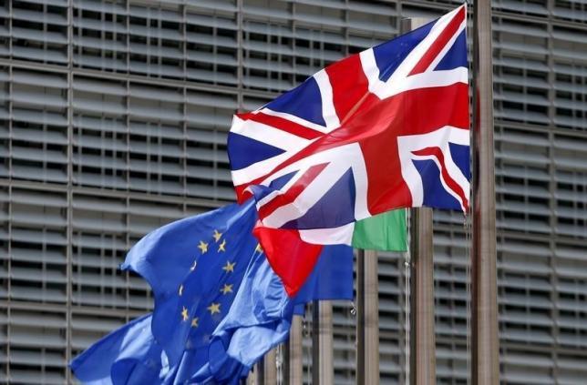 British flag and European Union flags flutter outside the EU Commission headquarters in Brussels, Belgium, June 28, 2016.   REUTERS/ Francois Lenoir