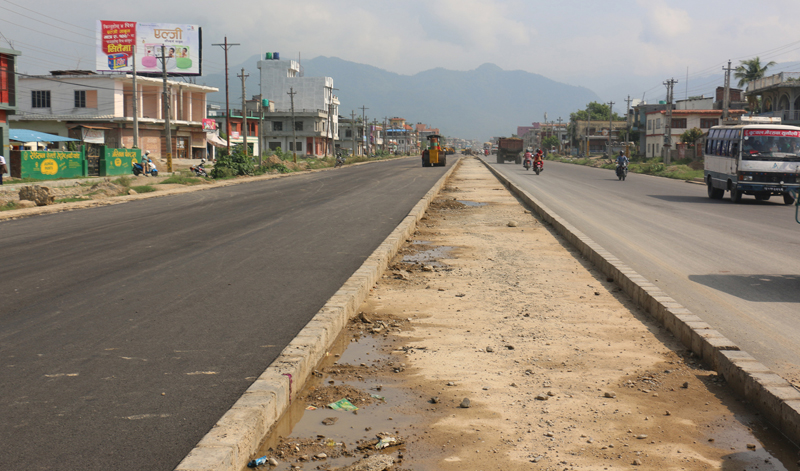 The Butwal-Bhairahawa road in Rupandehi district is being expanded into six-lane as seen in this picture captured on Saturday, July 2, 2016. Photo: RSS