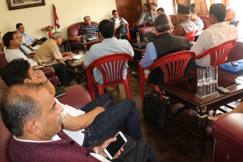 Leaders of the CPN Maoist Centre hold the party's Central Office meeting in Kathmandu, on Friday, July 15, 2016. Photo: Pushpa Kamal Dahal Secretariat