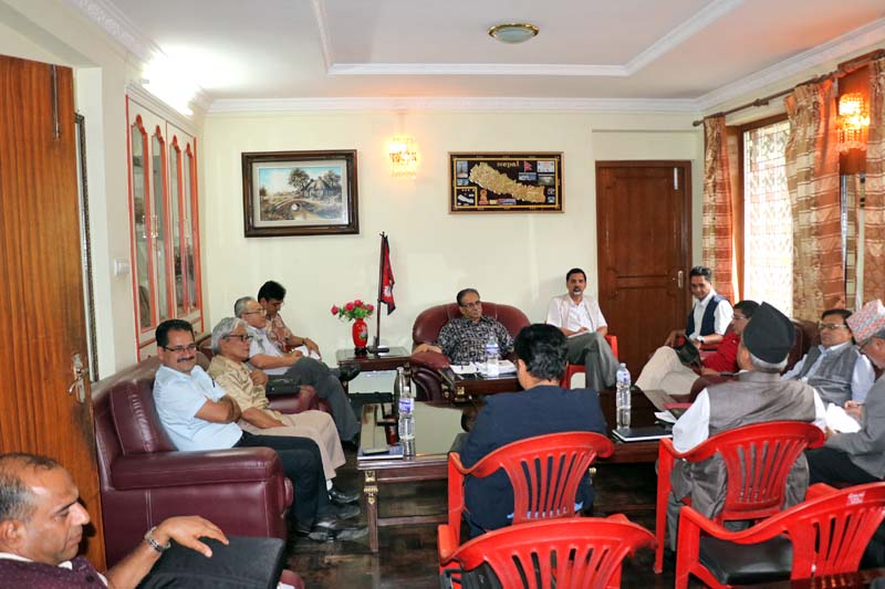CPN Maoist Centre Chairman Pushpa Kamal Dahal (centre) and other members attend meeting of the Central Office, in Kathmandu, on Monday, July 18, 2016. Photo Courtesy: CPN Maoist Centre
