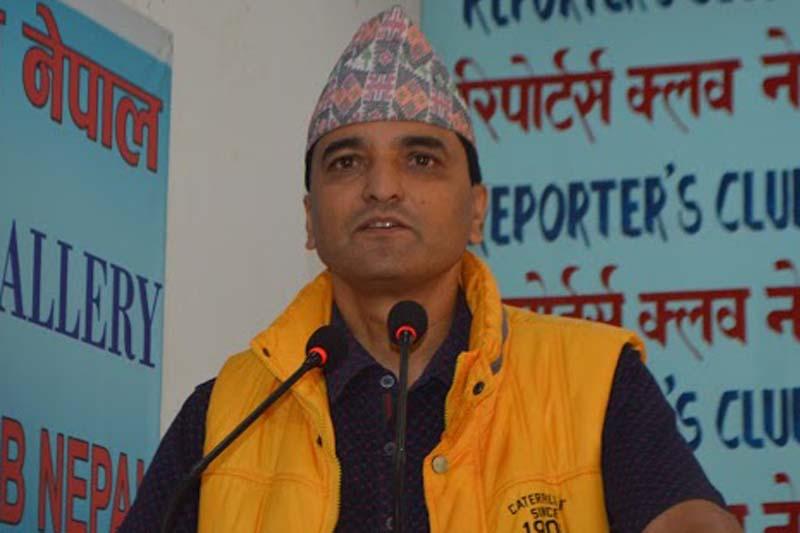 CPN-UML Secretary Yogesh Bhattarai speaks with journalists in Kathmandu, on Wednesday, July 20, 2016. Photo: Reporters' Club Nepal/File